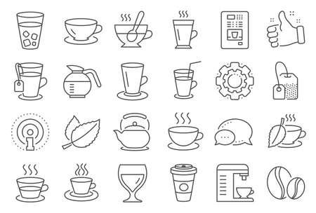 Icone della linea di caffè e tè. Set di icone della tazza di caffè cappuccino, succo di frutta con ghiaccio e Latte. Teiera, Caffettiera e Bevanda Calda con Vapore. Tè in foglie di menta, Bevande a base di erbe e Vending. Tazza di latte caldo. Vettore