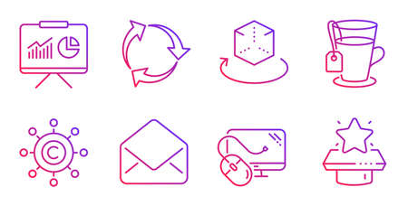 Mail, Copywriting network and Computer mouse line icons set. Tea, Recycle and Presentation signs. Augmented reality, Winner podium symbols. E-mail, Content networking. Business set. Vector