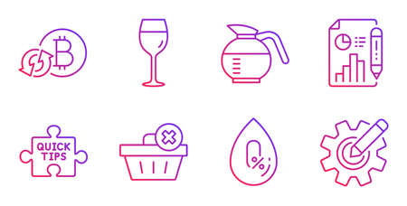 Delete order, No alcohol and Quick tips line icons set. Report document, Refresh bitcoin and Wine glass signs. Coffeepot, Cogwheel symbols. Clean basket, Mineral oil. Business set. Vector