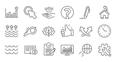 Waves, Whistle and Global warming line icons. Signature, Analytics and Question mark. Linear icon set. Quality line set. Vector Ilustrace