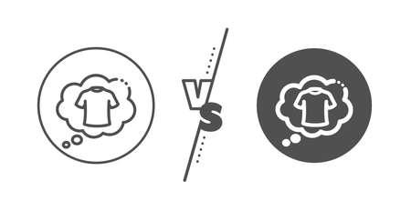 Laundry shirt sign. Versus concept. T-shirt line icon. Clothing speech bubble symbol. Line vs classic t-shirt icon. Vector