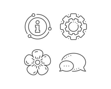 Natural linen line icon. Chat bubble, info sign elements. Organic tested sign. Fair trade symbol. Linear natural linen outline icon. Information bubble. Vector Ilustração
