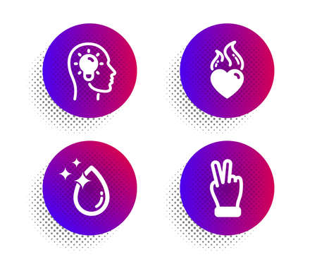 Heart flame, Idea head and Water drop icons simple set. Halftone dots button. Victory hand sign. Love fire, Lightbulb, Crystal aqua. Gesture palm. Business set. Classic flat heart flame icon. Vector Çizim