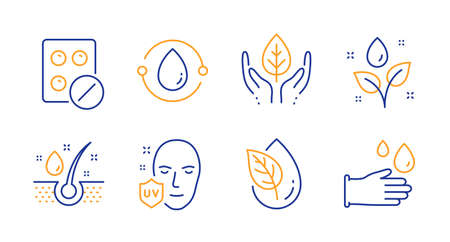 Medical tablet, Organic product and Plants watering line icons set. Cold-pressed oil, Serum oil and Fair trade signs. Uv protection, Rubber gloves symbols. Medicine pill, Leaf. Vector
