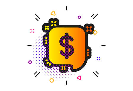 Dollar sign. Halftone circles pattern. Payment received icon. Finance symbol. Classic flat payment message icon. Vector
