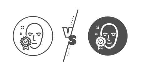 Access granted sign. Versus concept. Face verified line icon. Facial identification success symbol. Line vs classic face verified icon. Vector Ilustração