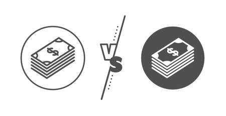 Banking currency sign. Versus concept. Cash money line icon. Dollar or USD symbol. Line vs classic dollar icon. Vector