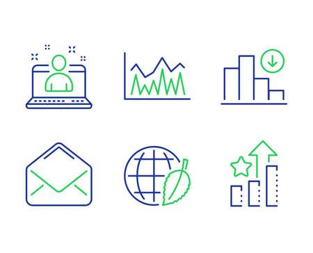 Set di icone per il miglior manager, Giornata dell'ambiente e linea di investimento. Grafico decrescente, segni di stelle di posta e classifica. Miglior sviluppatore, Mondo sicuro, Statistiche economiche. Grafico di crisi. Insieme di istruzione. Vettore