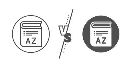 Book glossary sign. Versus concept. Vocabulary line icon. Line vs classic vocabulary icon. Vector 向量圖像