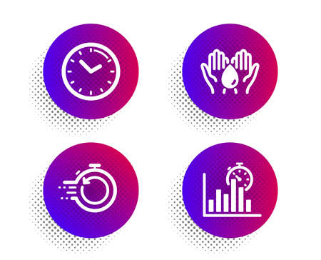 Time, Fast recovery and Safe water icons simple set. Halftone dots button. Report timer sign. Clock, Backup timer, Hold drop. Growth chart. Science set. Classic flat time icon. Vector
