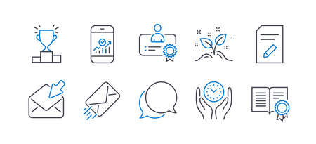 Set of Education icons, such as Safe time, E-mail, Chat message, Certificate, Open mail, Edit document, Winner podium, Startup concept, Smartphone statistics, Diploma line icons. Vector
