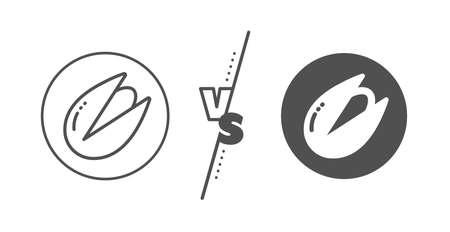 Tasty nuts sign. Versus concept. Pistachio nut line icon. Vegan food symbol. Line vs classic pistachio nut icon. Vector Иллюстрация