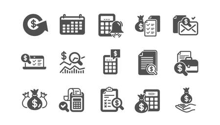 Accounting icons. Report, Calculator and Checklist. Money classic icon set. Quality set. Vector  イラスト・ベクター素材