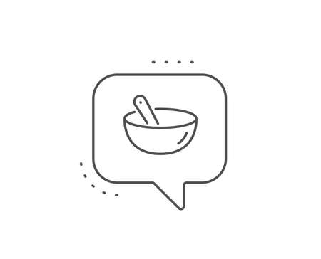 Cooking mix line icon. Chat bubble design. Bowl with spoon sign. Food preparation symbol. Outline concept. Thin line cooking mix icon. Vector