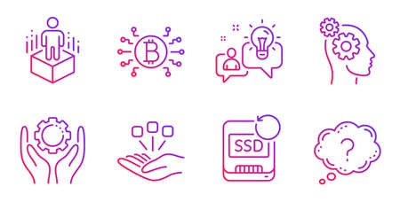 Thoughts, Recovery ssd and Augmented reality line icons set. Idea, Bitcoin system and Consolidation signs. Employee hand, Question mark symbols. Business work, Backup info. Science set. Vector