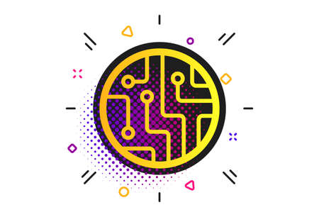 Circuit board sign icon. Halftone dots pattern. Technology scheme circle symbol. Classic flat circuit board icon. Vector 일러스트