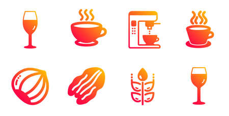 Coffee maker, Coffee cup and Pecan nut line icons set. Gluten free, Hazelnut and Wineglass signs. Tea cup, Wine glass symbols. Tea machine, Hot drink. Food and drink set. Vector