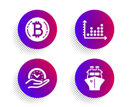 Dot plot, Safe time and Bitcoin icons simple set. Halftone dots button. Ship sign. Presentation graph, Management, Cryptocurrency coin. Shipping watercraft. Technology set. Vector