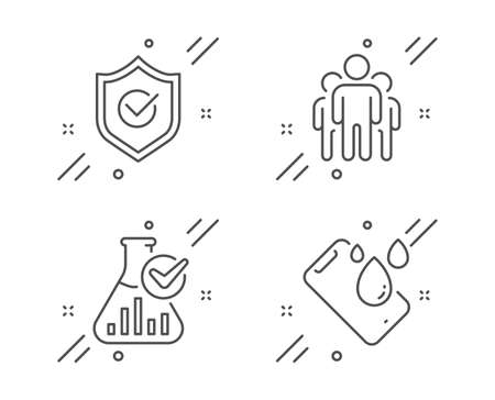 Group, Chemistry lab and Approved shield line icons set. Smartphone waterproof sign. Managers, Laboratory flask, Protection. Phone. Technology set. Line group outline icon. Vector Vetores