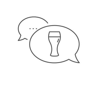 Beer glass line icon. Chat bubble design. Pub Craft beer sign. Brewery beverage symbol. Outline concept. Thin line beer glass icon. Vector