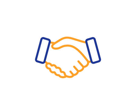 Hand gesture sign. Handshake line icon. Business deal palm symbol. Colorful outline concept. Blue and orange thin line handshake icon. Vector Çizim