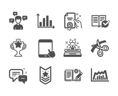 Set of Education icons, such as Approved documentation, Tablet pc, Scissors, Diagram graph, Employees messenger, Typewriter, Certificate, Victory, Engineering documentation, Shoulder strap. Vector