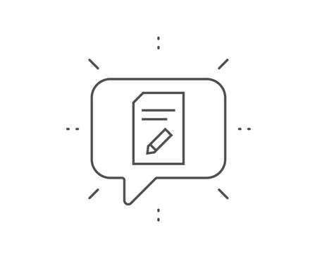 Edit Document line icon. Chat bubble design. Information File sign. Paper page with pencil concept symbol. Outline concept. Thin line edit document icon. Vector