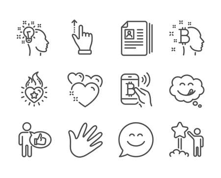 Set of People icons, such as Smile chat, Cv documents, Star, Yummy smile, Hand, Idea, Bitcoin think, Bitcoin pay, Touchscreen gesture, Like, Heart, Heart flame line icons. Smile chat icon. Vector