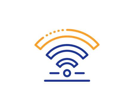 Wireless internet sign. Wifi line icon. Hotel service symbol. Colorful outline concept. Blue and orange thin line wifi icon. Vector Illustration