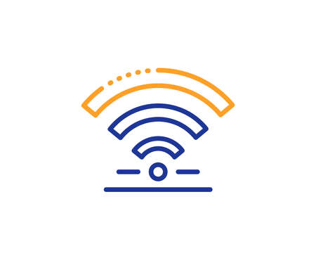 Wireless internet sign. Wifi line icon. Hotel service symbol. Colorful outline concept. Blue and orange thin line wifi icon. Vector