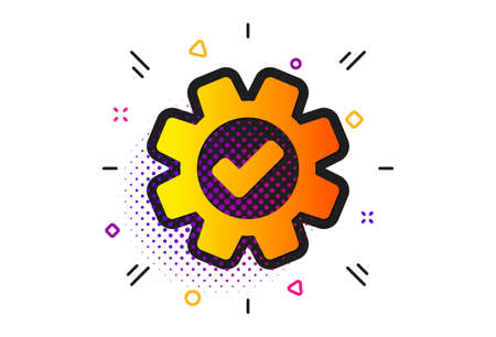 Approved Service sign. Halftone circles pattern. Cogwheel icon. Transmission Rotation Mechanism symbol. Classic flat service icon. Vector Standard-Bild - 132637946