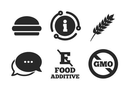 Hamburger fast food sign. Chat, info sign. Food additive icon. Gluten free and No GMO symbols. Without E acid stabilizers. Classic style speech bubble icon. Vector Vektorové ilustrace