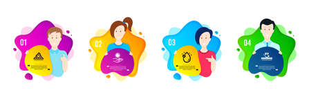 Vitamin e, Sun protection and Skin care icons simple set. People shapes timeline. Uv protection sign. Oil drop, Ultraviolet care, Face cream. Skin cream. Beauty set. Dynamic shape offer. Vector
