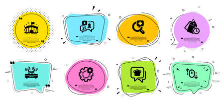 Scroll down, Support chat and Medical analyzes line icons set. Chat bubbles with quotes. Wifi, Time management and Arena signs. Cooking hat, Cogwheel symbols. Mouse swipe, Comment bubble. Vector