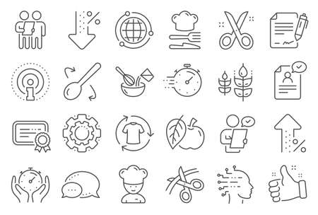 Chef hat, Customer survey, Fast delivery line icons. Approved application, Scissors cutting ribbon, Artificial intelligence icons. Percent decrease, interest rate, contract. Line signs set. Vector