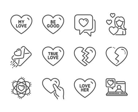 Set of Love icons, such as Be good, Break up, Friends chat, Love her, Love letter, Heart, Hold heart, Atom line icons. Divorce, Sweetheart. Be good icon. Vector