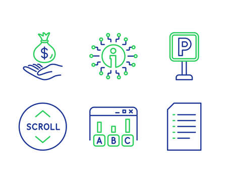 Income money, Scroll down and Parking line icons set. Info, Survey results and Document signs. Savings, Swipe arrow, Auto park. Information. Business set. Line income money outline icons. Vector  イラスト・ベクター素材
