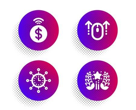Swipe up, Contactless payment and World time icons simple set. Halftone dots button. Ranking sign. Scrolling page, Financial payment, Measurement device. Laurel wreath. Technology set. Vector