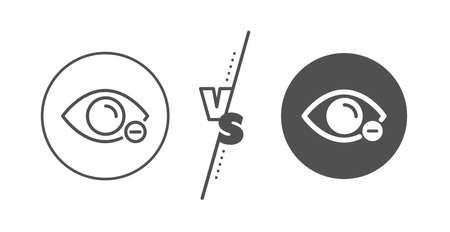 Eye diopter sign. Versus concept. Myopia line icon. Optometry vision symbol. Line vs classic myopia icon. Vector