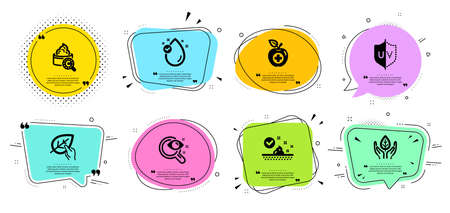 Uv protection, Skin care and Vision test line icons set. Chat bubbles with quotes. Vitamin e, Fair trade and Organic tested signs. Collagen skin, Medical food symbols. Ultraviolet, Face cream. Vector