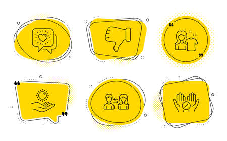 Clean shirt, Friends chat and Medical tablet signs. Chat bubbles. People communication, Dislike hand and Sun protection line icons set. People talking, Thumbs down, Ultraviolet care. Vector Ilustração