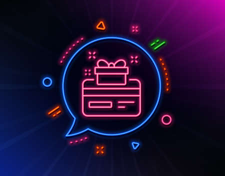 Loyalty card line icon. Neon laser lights. Bonus points. Discount program symbol. Glow laser speech bubble. Neon lights chat bubble. Banner badge with loyalty card icon. Vector