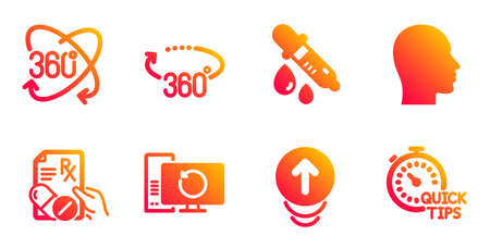 Swipe up, Prescription drugs and Chemistry pipette line icons set. Recovery computer, Full rotation and 360 degrees signs. Head, Quick tips symbols. Scrolling page, Pills. Science set. Vector Illusztráció