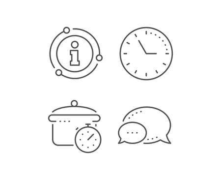 Boiling pan line icon. Chat bubble, info sign elements. Cooking timer sign. Food preparation symbol. Linear boiling pan outline icon. Information bubble. Vector