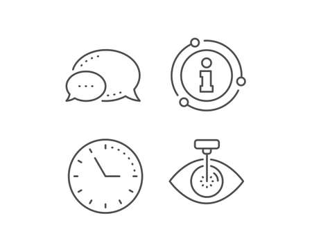 Eye laser surgery line icon. Chat bubble, info sign elements. Oculist clinic sign. Optometry vision symbol. Linear eye laser outline icon. Information bubble. Vector Stock Illustratie