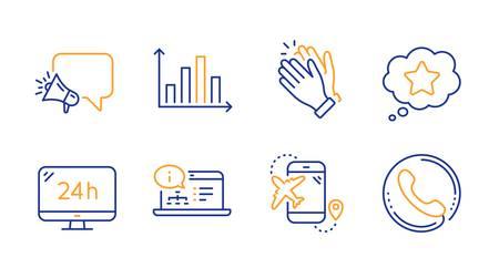 Clapping hands, Loyalty star and Online documentation line icons set. Diagram graph, Megaphone and 24h service signs. Flight destination, Call center symbols. Clap, Bonus reward. Vector