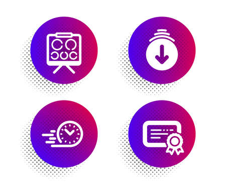Scroll down, Fast delivery and Vision board icons simple set. Halftone dots button. Certificate sign. Swipe screen, Stopwatch, Eye check. Verified document. Business set. Vector