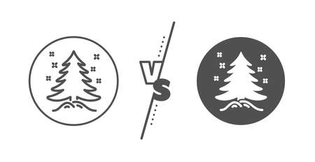 New year spruce sign. Versus concept. Christmas tree present line icon. Fir-tree symbol. Line vs classic christmas tree icon. Vector 일러스트