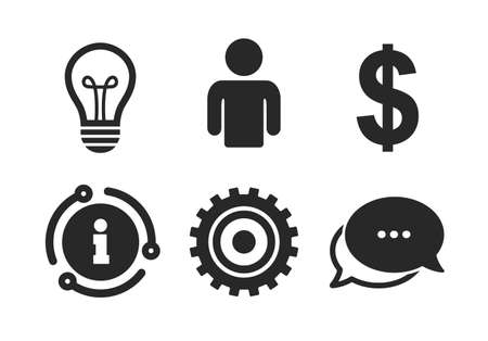 Human silhouette and lamp bulb idea signs. Chat, info sign. Business icons. Dollar currency and gear symbols. Classic style speech bubble icon. Vector