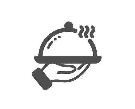 Dinner sign. Restaurant food icon. Hotel room service symbol. Classic flat style. Simple restaurant food icon. Vector